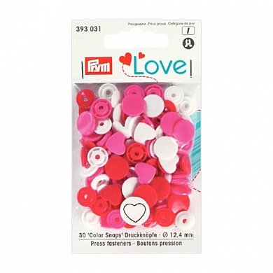Кнопки PRYM Love 393031 Color Snaps 12мм сердечки, 30шт.